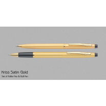 Pierre Cardin Kriss Satin Gold Pen Set (Set of Roller Ball & Ball Pen)
