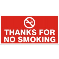Thanks for No Smoking Safety Sign (12X6 inches)-Self Adhesive Sticker