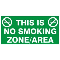 No Smoking Zone/Area Safety Sign (12X6 inches)-Self Adhesive Sticker