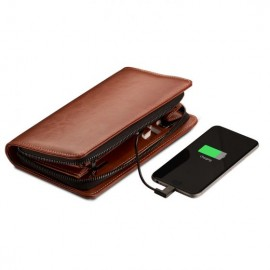 Pennline Long Zip Around Wallet with 3500 mAh Powerbank