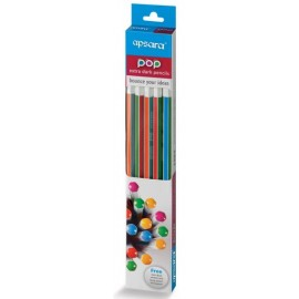 Apsara POP Pencils Vibrant and Colourful (Pack of 10 Pcs)