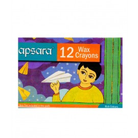 Apsara Regular Wax Crayon (12 Colours Shades)