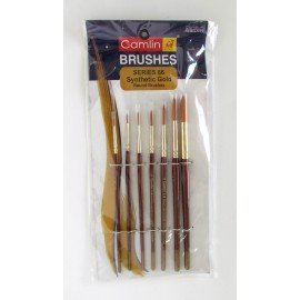 Camlin Kokuyo Round Brushes Synthetic Gold Hair (Series 66) - Set of 7