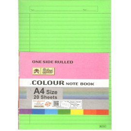 Lotus Pastle Sheets A4 Size Assorted Colors (Project Paper Sheets)-One Side Ruled (Pack of 20 Sheets)