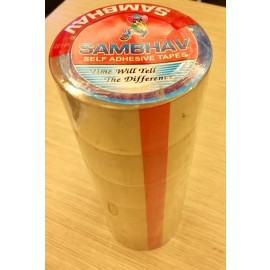 "Sambhav Tape Clear 2"" (Length 60 Meters) Pack of 6 Pcs."