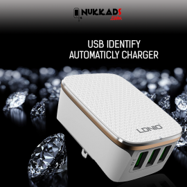 Nukkads Premium 3-Usb Smart Travel Charger With Auto-Id (3.4a Rapid Charge)