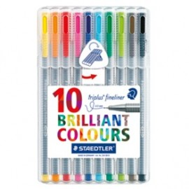 Staedtler Triplus Fine Liner Pack of 10 Colours (334 SB4)