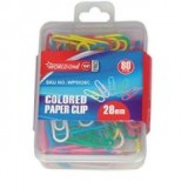 World One Paper Clips Size 33mm - Set of 5 Packs (WPS033C) Mixed Colours