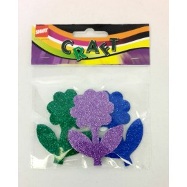 Glitter Stickons (Flowers)-Assorted Pack of 3 Pcs