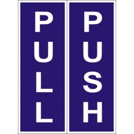 Pull Push Sign (12X6 inches)- Self Adhesive Sticker