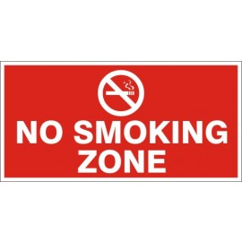 No Smoking Zone Safety Sign (12X6 inches)-Self Adhesive Sticker