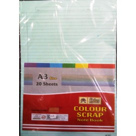 Lotus Pastle Sheets A3 Size Assorted Colors (Project Paper Sheets)-Both Side Ruled (Pack of 20 Sheets)