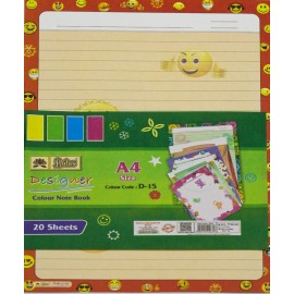 Lotus Pastle Sheets A4 Size Designer (Project Paper Sheets) One Side Ruled (Pack of 20 Sheets)