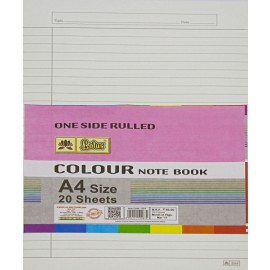 Lotus Pastle Sheets A4 Size White (Project Paper Sheets)-One Side Ruled (Pack of 20 Sheets)